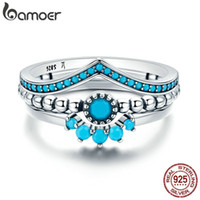 Wholesale geometric rings for sale - Bamoer Genuine Sterling Silver Us Unique As You Geometric Piece Finger Ring For Women Engagement Jewelry Scr368 J