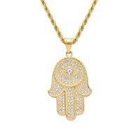 mão de diamante fatima venda por atacado-Hip hop Mão de Fátima diamantes pingente colares para homens de prata de ouro de cristal de luxo correntes de aço Inoxidável Amuleto Religioso presente colar