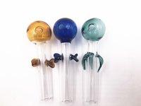 pyrex glasperlen großhandel-Hochwertiges großes Pyrex-Glasöl-Brenner-Rohr 4-Zoll-starke Glasabstrich-Nagel-Rohre mit farbigem Blatt oder Perle für das Rauchen tupfen Rigs Bongs ab