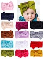headbands infantil da menina venda por atacado-14 cores caber todo o bebê grande arco meninas headband 7 polegada grande bowknot headwrap crianças arco para o cabelo de algodão cabeça larga turbante infantil recém-nascido headbands