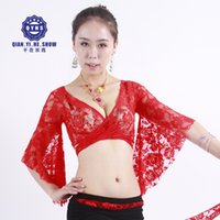 болеро одежда оптовых-New 2018 Women Belly Dance Costumes Bolero Lace Top Flared Sleeves Blouse Female Dance Clothes Club Performance 13colors