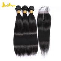 part weave closure al por mayor-Jiushan Brazilian Weave 3 paquetes con cierre Recto 8a 3 partes Cierre Virgin Sin procesar con paquetes con cierre y paquetes
