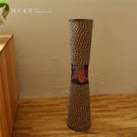 tissage de vase achat en gros de-Creative vase en fer tissé à la main style country américain décoration de la maison simulation vases à fleurs blanc café vases de table