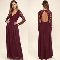 Wholesale red wedding dress western style for sale - Group buy 2020 Burgundy Chiffon Bridesmaid Dresses Long Sleeves Western Country Style V Neck Backless Maid of Honor Beach Lace Wedding Party Wear