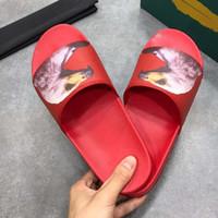 chanclas de cuero al por mayor-Hombres de marca de cuero de vaca zapatillas casuales sandalias, sandalias frescas sandalias planas Flipflops 3D Print Leather Eagle zapatillas, 38-45