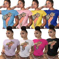 t-shirt impresso verão menina venda por atacado-Plus Size T Camisa US Dollar Impresso Mulheres Verão T-shirt de Manga Curta Casual Top T-shirt Harajuku Esportes Meninas Camisas Roupas S-3XL C42907