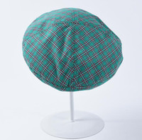 ingrosso berretti adulti-Retrò Plaid Beret Donna Cotton Painter Beret Summer Thin Student Hat Fashion Wild Plaid Hat Adulto