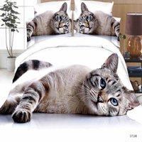 Wholesale tiger 3d bedding set resale online - Luxury Smart d bedding set bedclothes bed set Duvet Cover flat sheet Home Textiles pillowcase Queen size Cat tiger Lion