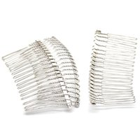 saç sesi tarağı toptan satış-10 Adet Gümüş Ton Tarak Şekli Alaşım Saç Klipler Tokalarım Takı Diy Bulgular 7.8 cm