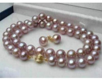 Wholesale beaded purple jewelry set for sale - Group buy 10 mm Real Natural Purple Akoya Pearl Necklace Earring Jewelry Set inch