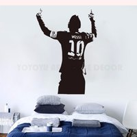 ingrosso stelle vinile adesivo a parete-Messi Soccer Football Star Wall Sticker Home Ragazzi Room Decor Messi Silhouette Vinyl Decalcomania da muro Football Lover Poster da parete