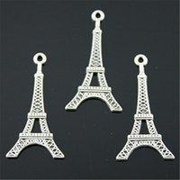 eiffel schmuck großhandel-150pcs Charm Tower Eiffelturm Anhänger Charms für Schmuckherstellung Antik Silber Eiffelturm Charms 19x32mm