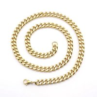 Wholesale smooth gold chain necklace resale online - Explosion models mm clavicle accessories Simple four sided smoothing gold plated jewelry Domineering men s necklace