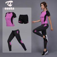 Wholesale gym clothes shorts women for sale - Group buy Women Yoga Set Gym Fitness Clothes Yoga Shirt Pants Running Tight Jogging Workout Yoga Leggings Sport Suit Leggings pants W011