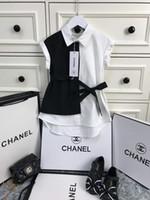 vestido nuevo de la solapa de las niñas al por mayor-2019 nuevos vestidos de verano ropa de marca para niños vestido de niña ropa de niña vestido para niños Camisa de color de contraste falda de solapa niñas trajes de boutique