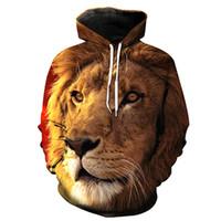 löwe könig kapuzenpulli sweatshirt großhandel-NEUE ANKUNFT Lion King Digitaldruck Stereo Paste Tasche Casual Hoodie für Junge Männer Designer Hoodies Mode Hipster Männer Sweatshirt