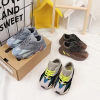 kahverengi renkli ayakkabı toptan satış-2019 yeni moda net nefes kahverengi eğlence spor koşu ayakkabıları kızlar için özel marka erkek çocuklar için renk ayakkabı