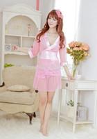 Wholesale see through robes online - sexy lingerie pink see through women light pure hot kimono women sleepwear set