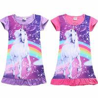ingrosso pigiama bambini principessa-Unicorn Princess Dress Fashion Summer Soft Girls Dress Nightgown Bambini Abiti Camicia da notte Pigiama Pigiameria Pigiameria Abbigliamento