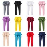medias de princesa leggings al por mayor-Faldas para niñas Pantalones Niños Leggings de princesa Medias con falda pantalón Color caramelo para bebé Medias de primavera y otoño HHAA620