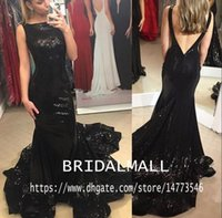 Wholesale purple red evening dress resale online - Sexy Black Sequined Long Mermaid Prom Dresses Backless Elegant Formal Evening Dress Party Pageant Gowns Sweep Train Celebrity Dress