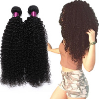 Wholesale black curly weave hair extensions online - Brazilian Kinky Curly Straight Body Wave Loose Wave Deep Wave Virgin Hair Wefts Natural Black Brazilian Curly Virgin Human Hair Extension