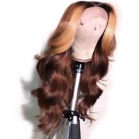 pelucas marrones rubias ombre al por mayor-Pelucas brasileñas del pelo humano de Remy del cordón lleno Ombre Brown con la miel Blonde destaca el pelo humano 13X6 peluca delantera del cordón