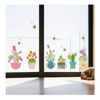 Wholesale flower plant pot wall stickers for sale - Group buy PVC Cartoon walls with plant flowers potted Windows corner graffiti decorative painting waterproof can wipe stickers
