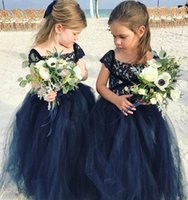 Wholesale vintage princess wedding dresses for sale - Group buy Navy Blue Lace Arabic boho Flower Girl Dresses Cheap Ball Gown Tulle Child Wedding Dresses Vintage Little Girl Pageant Dresses