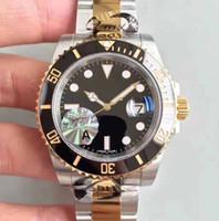 Wholesale 18k luxury watches swiss resale online - Mens Top quality Luxury updated version mm Swiss ETA Ceramic Bezel LN Ceramic bezel PVD plating thick K gold Watches