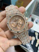 смотреть серебряную розу оптовых- New Men Watches Chronograph Sapphire Stainless Steel Yellow Gold Rose Silver Black Full Iced Diamonds Fashion Watch