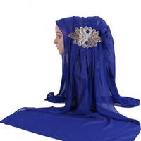 Wholesale hijab inner scarf resale online - Luxury beading chiffon Hijab Scarf Cap Muslim Fashion Women Hijabs hat Full Cover Inner Cotton Islamic Head Wear Hat Underscarf