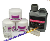 ingrosso vernice acrilica per la plastica-7 pezzi / set polvere acrilica acrilica kit per unghie cristallo smalto per unghie acrilico per unghie set per manicure bisogno lampada UV pennello per unghie