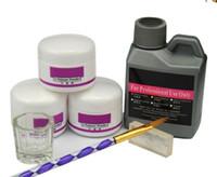 ingrosso kit di polvere acrilico-7 pezzi / set acrilico in polvere acrilico kit chiodo cristallo chiodo polimero acrilico per chiodi set per manicure bisogno di lampada uv nail art pennello