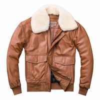 ingrosso pecore di lana di cotone-G1 air force pilot use La giacca in vera pelle di montone ovino con lana colllar Cappotti in cotone da uomo