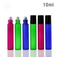 botellas de aceite de perfume de vidrio verde al por mayor-Rollo de vidrio vacío de 10 ml en la botella Azul Rojo Verde Contenedor de rodillos 1 / 3OZ para aceites esenciales, aromaterapia, perfumes y bálsamos