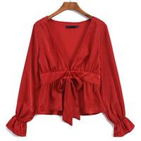 Wholesale women long lantern resale online - Europe And The United States Single Satin Ladies V neck Lantern Long Sleeved Lace Shirt Women Clothing Black Red