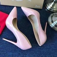 seksi kadınlar boyu 12 topuklu toptan satış-Sıcak satış klasik tasarımcının yeni moda kadın kırmızı tabanlar, sivri seksi kadın parti düğün topuklu boyutu 34-43, topuk yüksekliği 8-10-12 cm
