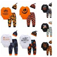 babyhemd basic großhandel-Halloween-Baby-Kleidung Kleinkind Buchstabe gedruckten Spielanzug Hosen Hat 3pcs Basic T-Shirt Kürbis Kinder Jumpsuits Hosen Sets Caps LJJA3267-4