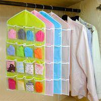 Wholesale bra rack hangers for sale - Group buy 16Pockets Clear Hanging Bag Socks Bra Underwear Rack Hanger Storage