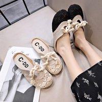 sandalia de encaje nuevo coreano al por mayor-Venta caliente-zapatillas femeninas al aire libre 2019 verano nueva versión coreana salvaje de sandalias de encaje y zapatillas sandalias de playa planas
