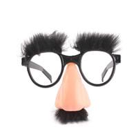 óculos de festa preta venda por atacado-Nova Máscara Bonito Preto Nariz Grande Óculos Engraçados Máscara de Halloween Crianças Festa de Halloween Adereços Meia Máscara Facial