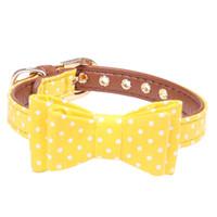 ingrosso dog collar bow-Cravatta decorativa con fiocco regolabile in pelle imbottita con punta ondulata regalo per animali domestici Collana con collare morbido per cani