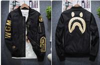 işlemeli askeri ceketler toptan satış-Bap Marka-giyim Hava Kuvvetleri Pilot İşlemeli Beyzbol Ceket Kadın Erkek Pilot Askeri Bombacı Kamuflaj Ceket