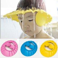 ingrosso cappelli da bagno per bambini-Vendita calda morbida plastica ridimensionabile dimensioni Baby Shower Caps Bagno Doccia Earflaps Shampoo Cap Kid Shampoo Hat # 2