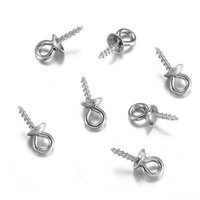tampas da extremidade da jóia venda por atacado-30 pcs Aço Inoxidável Tone Screw Eyes Olhos Bail Top Perfurados Beads End Caps Pingente Charms DIY Conectores Jóias Acessórios