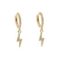 Wholesale new earrings designs resale online - 2019 SUMMER new design jewelry simple design cz lightning flash charm mini hoop drop earring