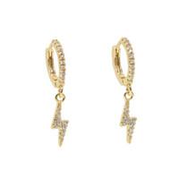 boucles d'oreilles clignotantes achat en gros de-2019 SUMMER nouveau design bijoux design simple cz éclair flash charme mini cerceau goutte