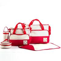 Wholesale waterproof bag diaper nappy resale online - 5pcs set Mummy Handbag Diaper Bag Waterproof Large Capacity Travel Backpack Nappy Changing Diaper Pad Bag Organizer Baby Nursing Bag C4951