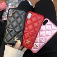 caja de color rojo al por mayor-las mujeres de cuero negro marca de color rojo con el caso de teléfono de la cáscara tarjeta para iPhone 6 7 8 6s 8plus XR X cáscara de la cubierta posterior para el iPhone x xr 7plus caso de color rosa